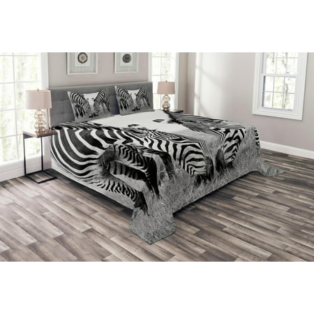 Animal Bedspread Set, Zebras African Wildlife Burchell Safari Theme National Park Monochrome Picture, Decorative Quilted Coverlet Set with Pillow Shams Included, Black White, by Ambesonne (Safari Park Set)