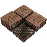 "SmileMart Pack of 27 Fir Wood Interlocking Flooring Tiles for Balcony Patio Garden Deck Poolside 12"" x 12"", Brown"