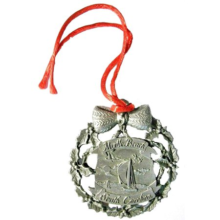 Pewter Myrtle Beach South Carolina with Sailboat Christmas Ornament