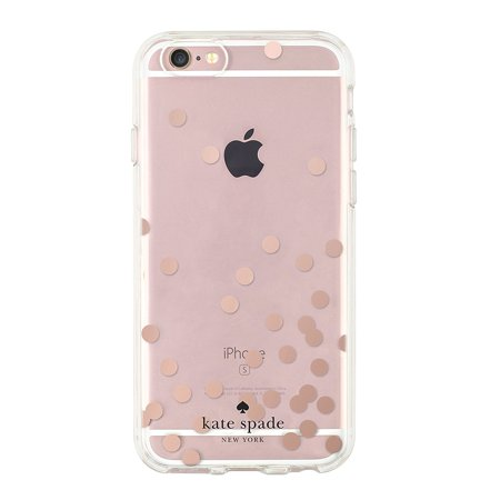 sale retailer b6ae5 ae13c Kate Spade New York Hardshell Clear Case for iPhone 6/6s - Confetti Dot  Rose Gold Foil/Clear