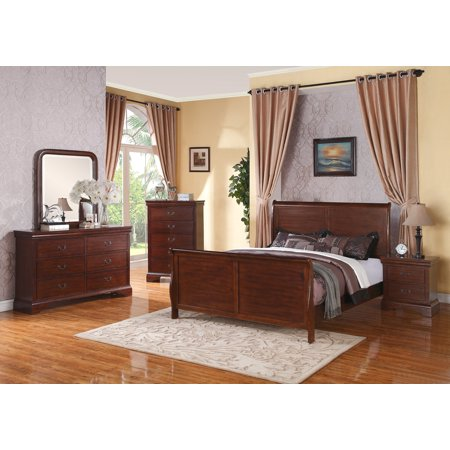 Beautiful Bedroom Furniture Modern Dark Walnut California king Size bed Dresser Mirror Nightstand 4pc Set Curved Panel Sleigh Bed HB FB ()