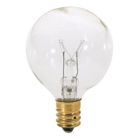 Satco S3844 10W 120V Globe G12.5 Clear E12 Candelabra Base Incand. bulb Clear Decorative Globe Bulbs
