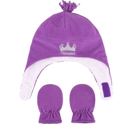 Kids Baby Toddlers Sherps Lined Embroidered Fleece Hat Mitten