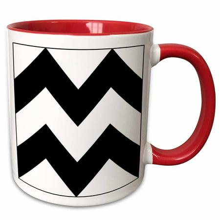3dRose Print of Huge Black And White Chevron Stripes - Two Tone Red Mug,