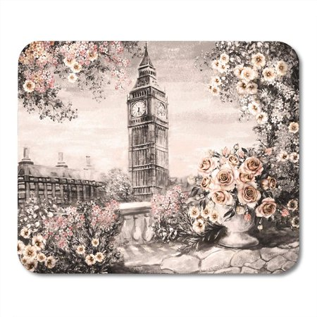 SIDONKU Oil Painting Summer in London Gentle City Landscape Flower Rose and Leaf View From Above Balcony Big Ben Mousepad Mouse Pad Mouse Mat 9x10 inch