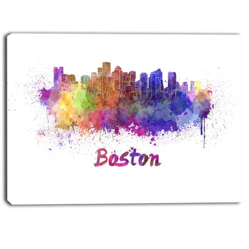 DESIGN ART Designart - Boston Skyline - Cityscape Canvas Artwork Print Small