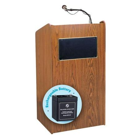 Oklahoma Sound M6010-MO 50W Aristocrat Floor Sound Lectern & Rechargeable Battery, Medium Oak