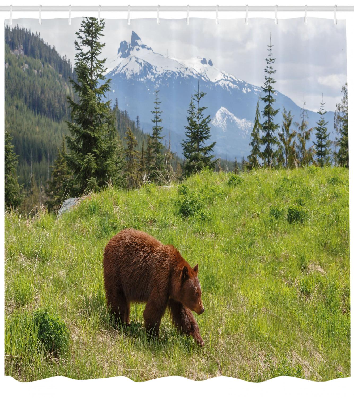 "Mountain Landscape Brown Bear Shower Curtain Set Bathroom Waterproof Fabric 72/"""
