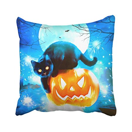 WinHome Cute Glitter Happy Halloween Cool Cat Pumpkin Watercolor Polyester 18 x 18 Inch Square Throw Pillow Covers With Hidden Zipper Home Sofa Cushion Decorative Pillowcases - Cool Halloween Cover Photos
