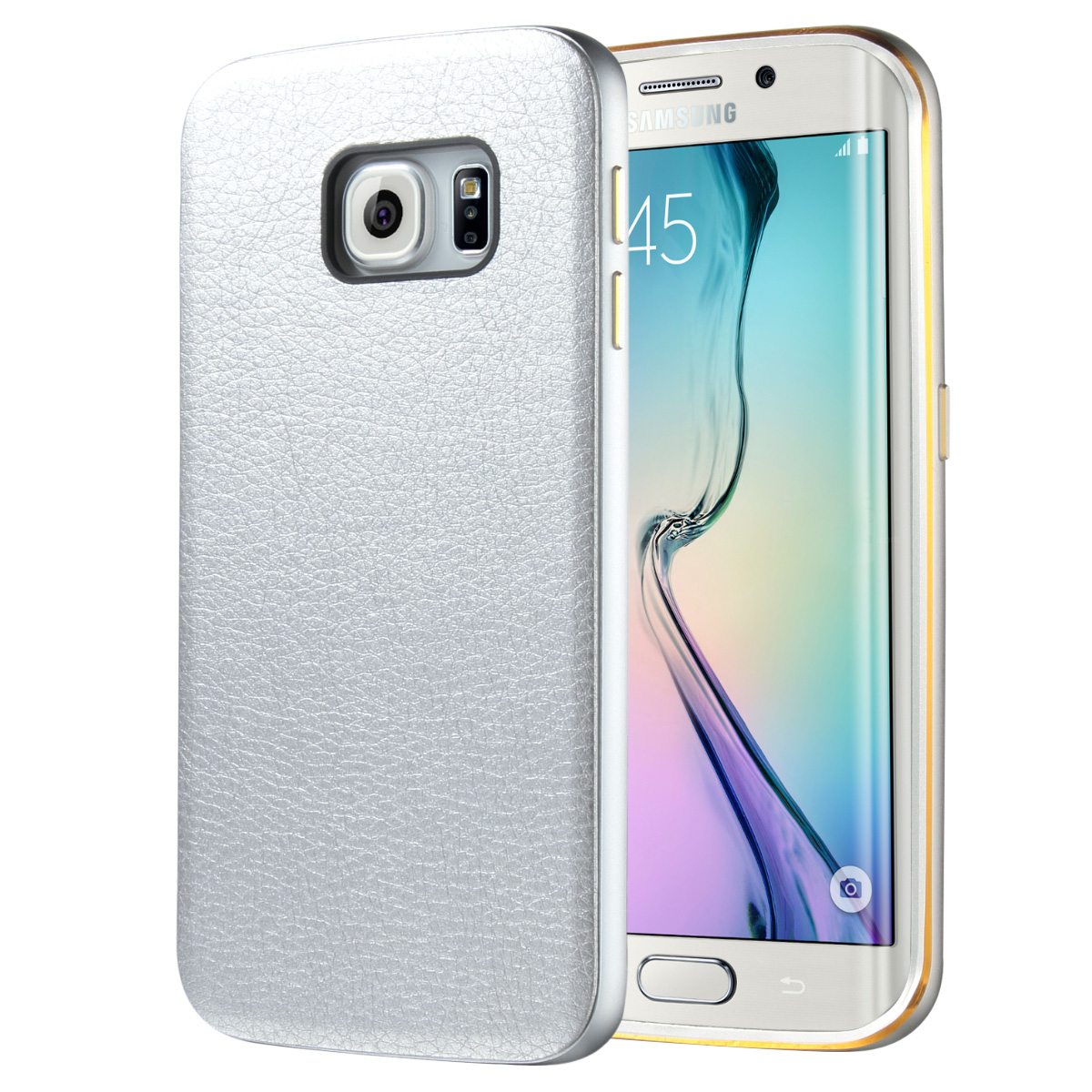 "ULAK Galaxy S6 Edge Case, Hybrid Case with Metallic Bumper and Synthetic Leather Back for Samsung Galaxy S6 Edge (5.1"" inch) 2015 Release"