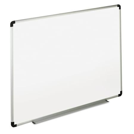 Universal Dry Erase Board, Melamine, 48 x 36, White, Black/Gray Aluminum/Plastic Frame