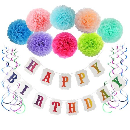 Birthday Decorations For Girls Boys Happy Banner With Pom And Party Swirls Baby First DecorationsRainbow