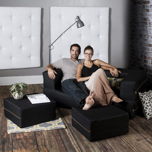 Jaxx Zipline Convertible Sleeper Loveseat with Ottomans