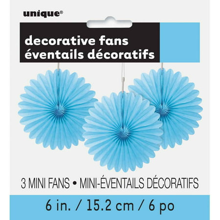 Tissue Paper Fan Decorations, 6 in, Light Blue, 3ct (Blue Decoration)
