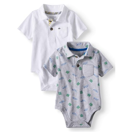 Garanimals Print & Solid Jersey Polo bodysuits, 2pc Multi-Pack (Baby (Months Infant Onesie)
