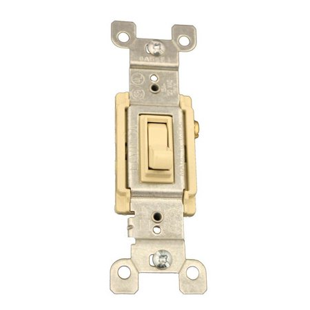 Box 3 Way Quiet Switch (Leviton 1453-2I 15 Amp, 120 Volt, Toggle Framed 3-Way AC Quiet Switch, Residential Grade, Grounding, Quickwire Push-In & Side Wired, Ivory)