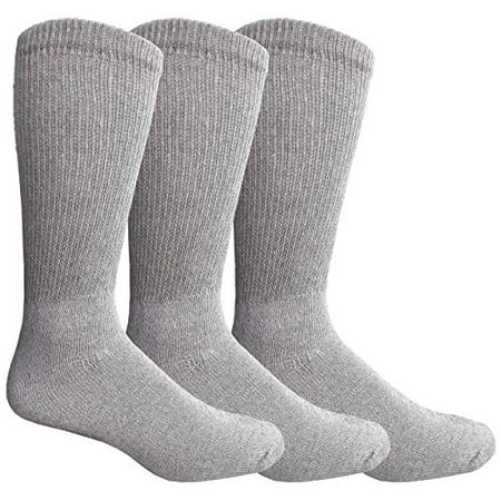 Yacht & Smith King Size Loose Fit Non-Binding Soft Cotton Diabetic Crew & Ankle Socks, Bulk Value Pack Cotton Diabetic Crew Socks