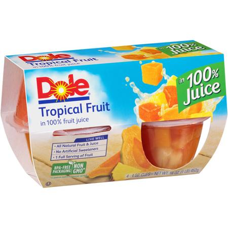 Dole Tropical Fruit In Lightly Sweetened Juice, 4 pk