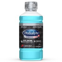 Pedialyte AdvancedCare Plus Electrolyte Drink with 33% More Electrolytes and has PreActiv Prebiotics, Berry Frost, 1 Liter, 4 Count