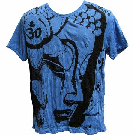 Sure Men's Buddha Yoga Hippie Boho Crinkled Cotton T-Shirt 56 (Medium) - Male Hippie Clothes