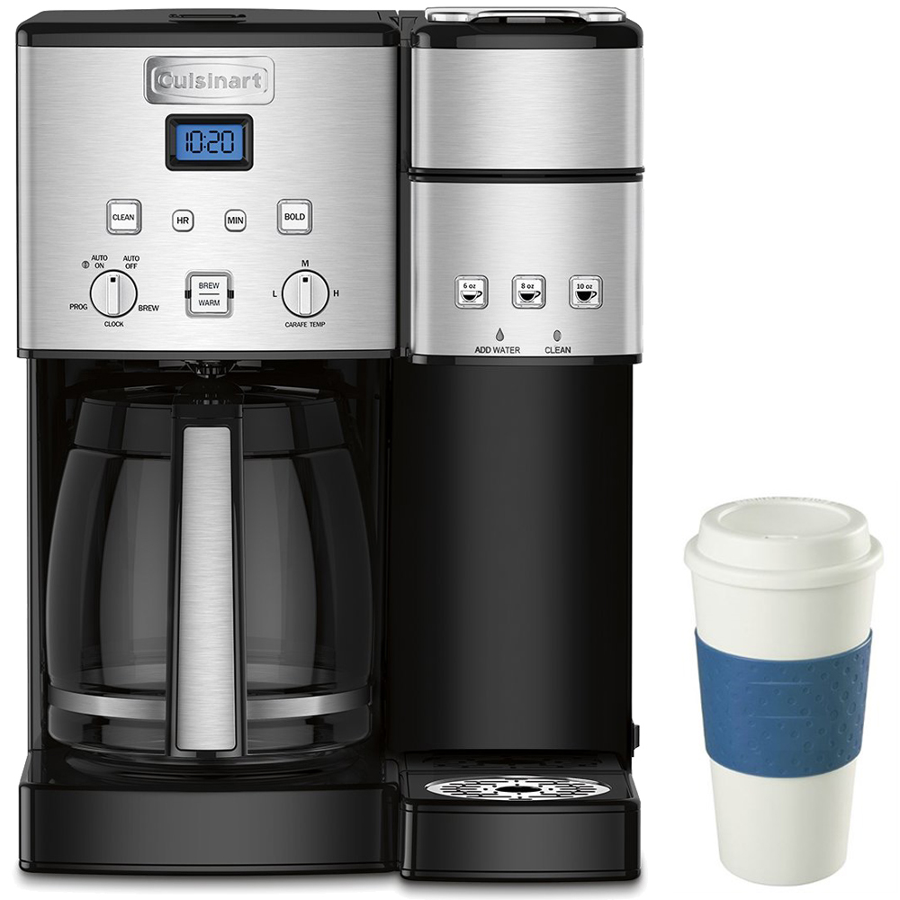 Cuisinart 12-Cup Coffee Maker and Single-Serve Brewer Stainless Steel (SS-15) with Deco Gear 16-Ounce Capacity Reusable To Go Mug Blue