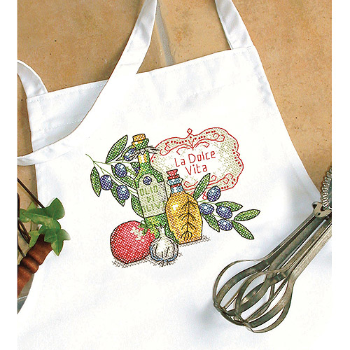 Tuscan Flavor Apron Stamped Cross Stitch