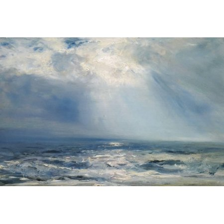 Nantucket Nautical Painting (A Sunbeam over the Sea, 1890 (Oil on Panel) Ocean Seascape Coastal Nautical Painting Print Wall Art By Henry Moore)