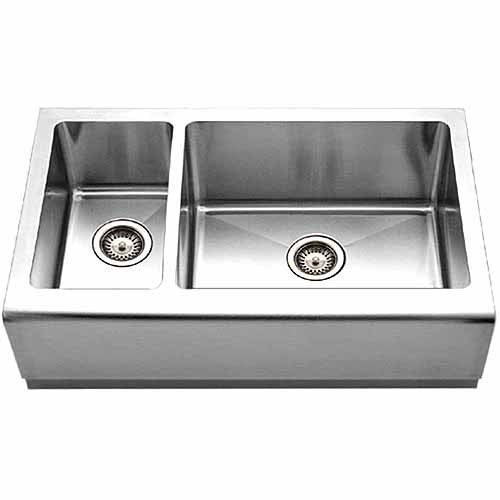 Houzer EPO-3370SL Epicure Series Apron Front Farmhouse Stainless Steel Double Bowl Kitchen Sink