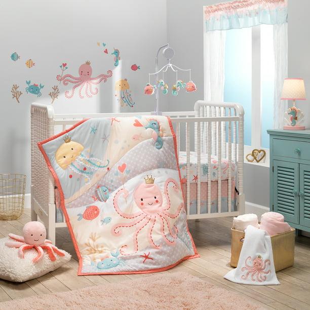 Bedtime Originals Ocean Mist 3 Piece, Yellow Gray Crib Bedding