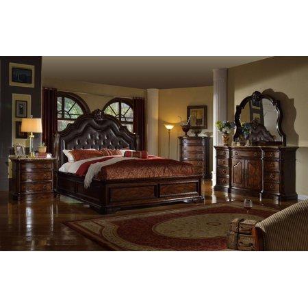 Mcferran B6002 Tuscan Rich Brown Solid Hardwood California King ...