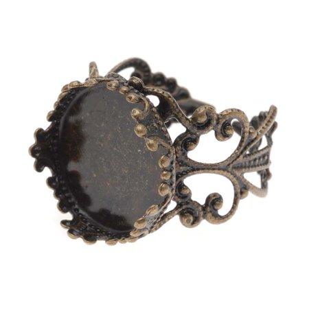Antiqued Brass Filigree Adjustable Ring With 16.5mm Round Bezel (1) ()