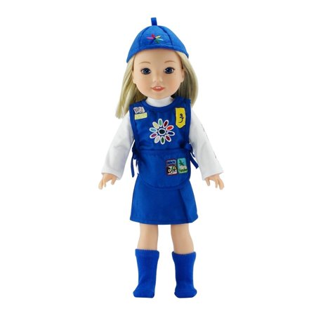 14 Inch Doll Clothes | Daisy Girl Scout-Inspired Uniform, Includes Blue Skirt, T-Shirt with Daisy Print, Tunic with Embroidered Patches, Matching Hat/Socks | Fits American Girl Wellie Wishers Dolls ()