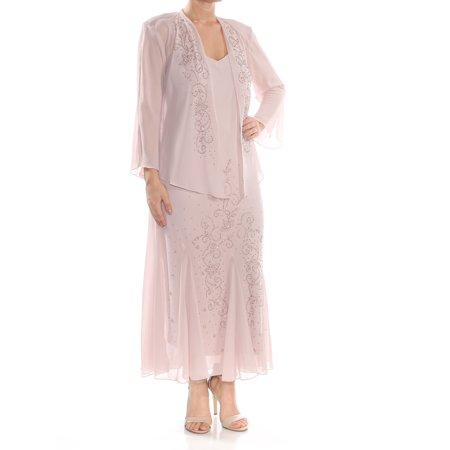 Beaded Evening Jacket (R&M RICHARDS Womens Pink Beaded   And Jacket Maxi Evening Dress  Size:)