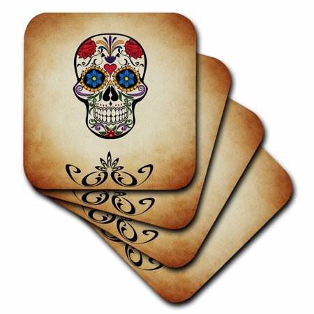 3dRose Trendy Skull Design with Special Colors - Soft Coasters, set of 4