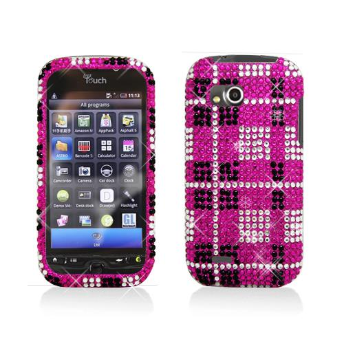 Pink with Diamond Plaid Pattern Snap-On Hard Case Cover for LG Mytouch Q C800
