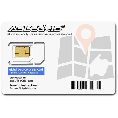 Ablegrid® Global Sim Card, Multi-Carriers, for Any 3G 4G LTE, IoT-NB Cat-M LTE-M GPS Tracker and IoT devices - DATA