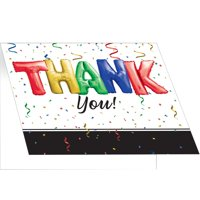 "Club Pack of 75 Black and White Graduation ""THANK you!"" Printed Notes 5"""