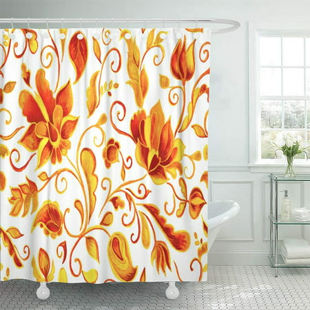PKNMT Watercolor Floral Flower Colorful with Abstract Orange Whimsical Paisley Tulips Waterproof Bathroom Shower Curtains Set 66x72 inch