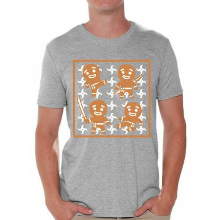Awkward Styles Gingerbread Ninja Tshirt for Men Ginja Christmas T-Shirt Funny Christmas Shirts for Men Ginja Ugly Christmas T Shirt Xmas Party Gifts for Him Gingerbread Xmas Shirt Xmas Party Outfit
