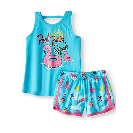 Wonder Nation Graphic Tank Top & Short, 2-Piece Outfit Set (Little Girls & Big Girls)