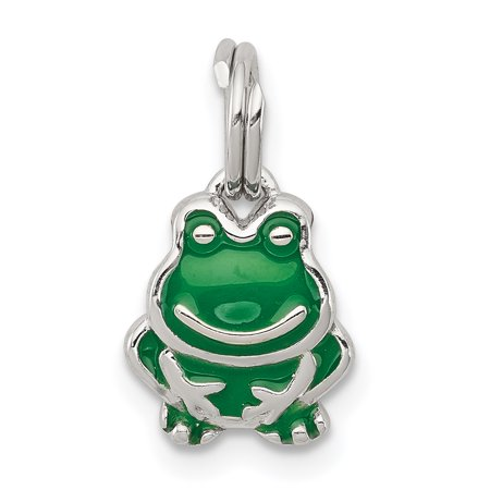 - Sterling Silver Green Enameled Frog Charm