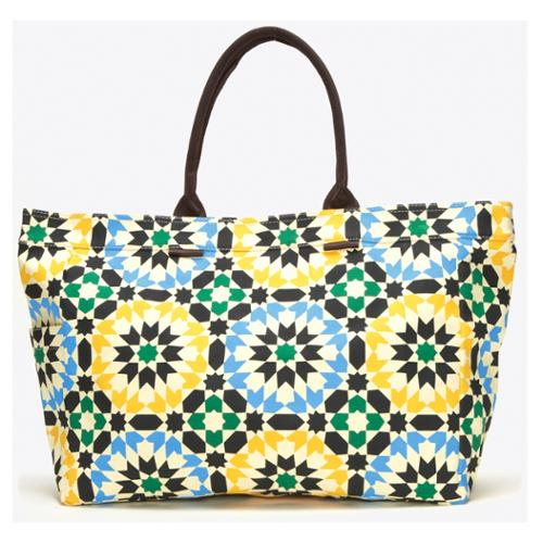 Semi Precious Jewelry Lotus Geometric Floral Canvas Tote Bag