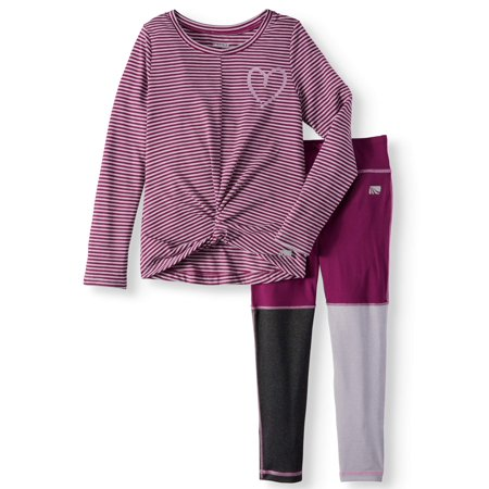Performance Micro Stripe Top & Legging, 2-Piece Active Set (Little Girls & Big Girls)