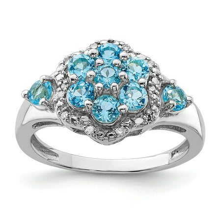 Sterling Silver 2 MM Diamond and Light Swiss Blue Topaz Ring, Size 6