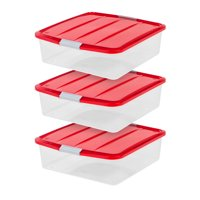 IRIS USA, 20 Inch Wreath Storage Box, 3 Pack, Red/Clear