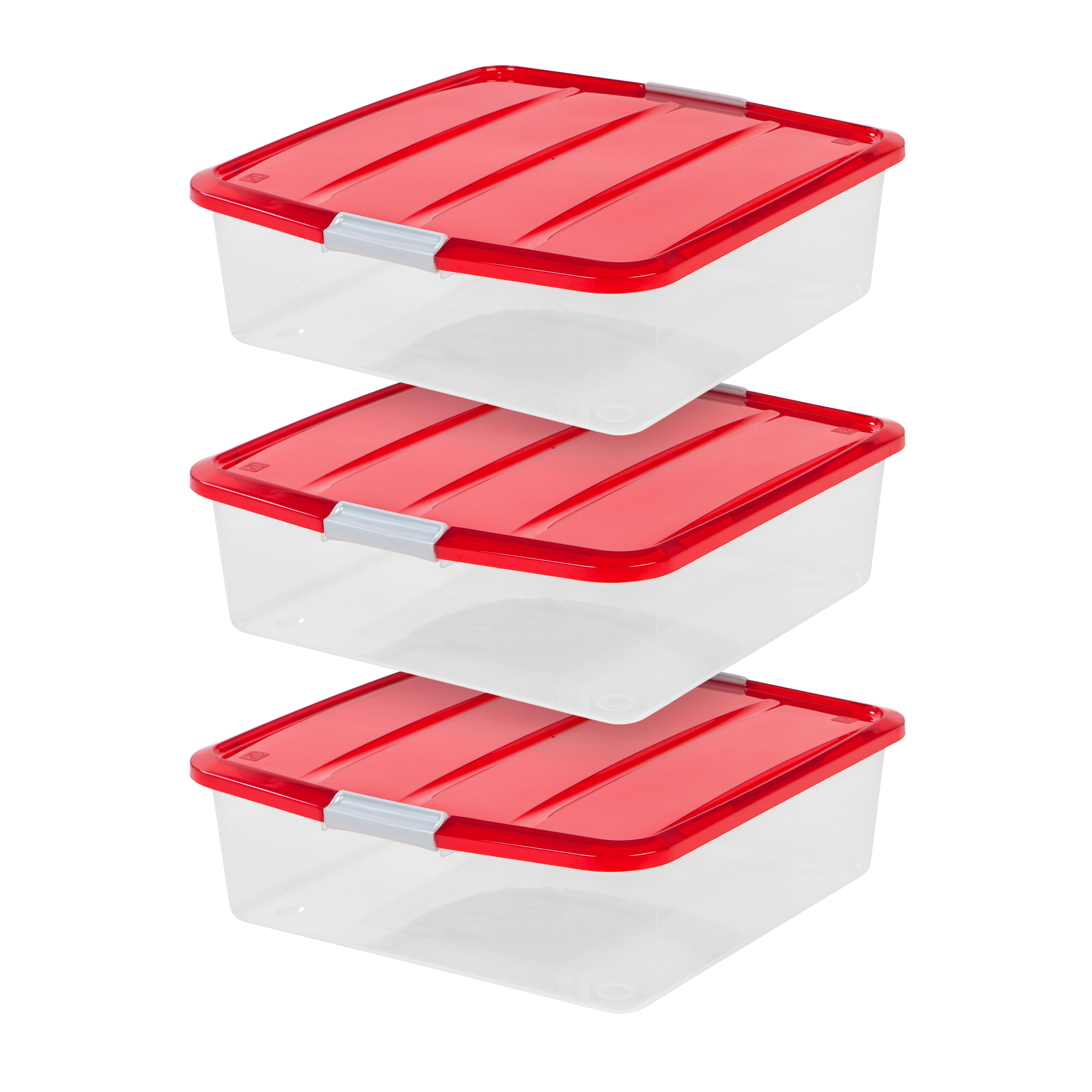 IRIS 20 Inch Wreath Storage Box, 3 Pack, Red
