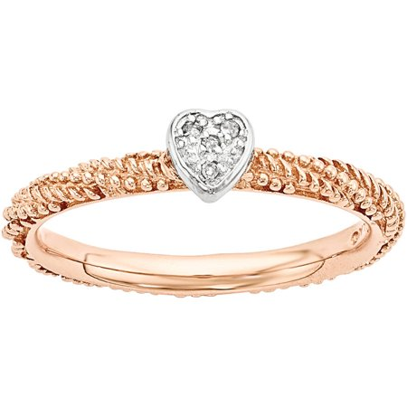 Stackable Expressions Diamond Sterling Silver Rose Gold-Plated Heart Ring