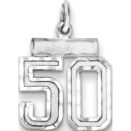 925 Sterling Silver Small #50 (14x20mm) Pendant / Charm - image 2 de 2