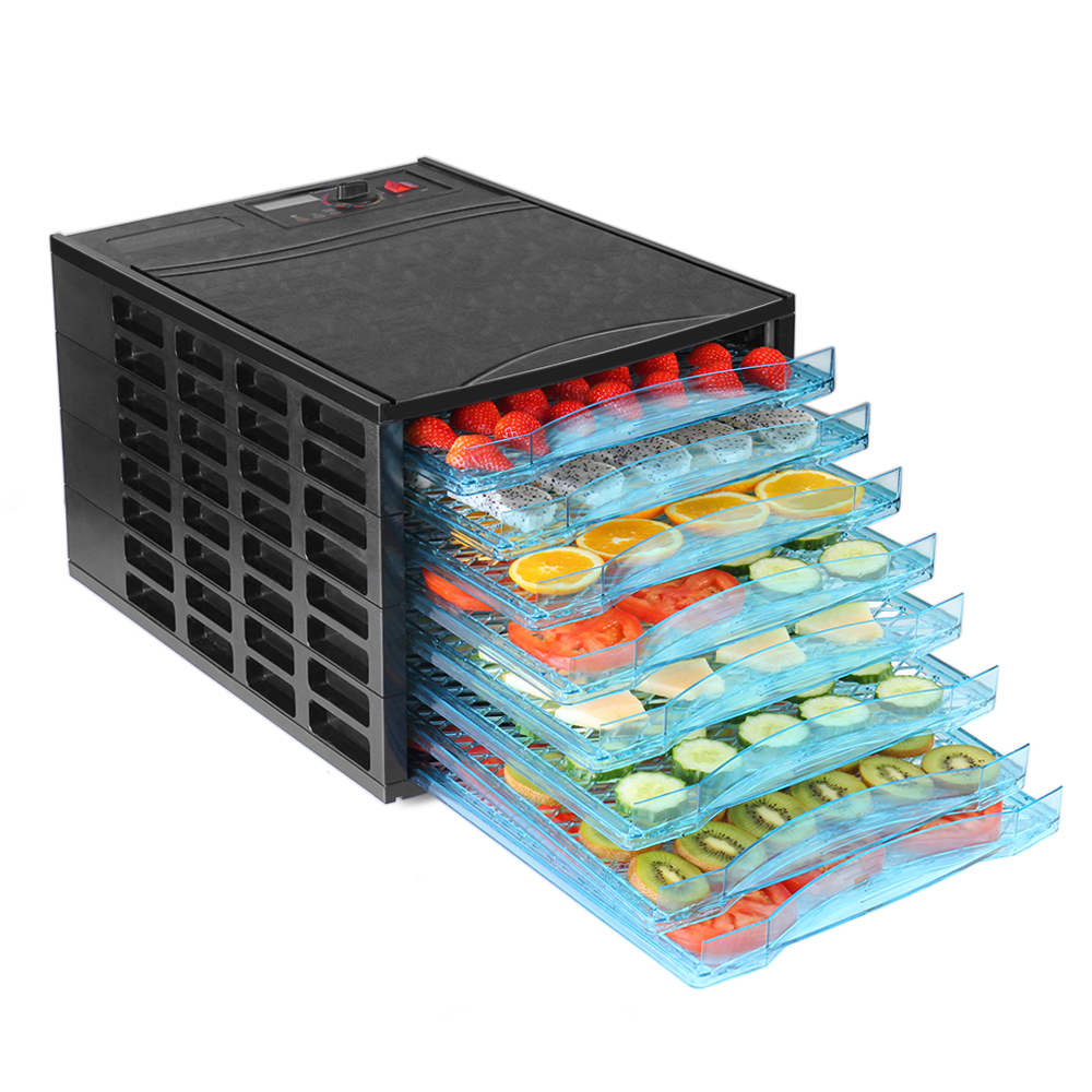 Food Dehydrator with Timer & Temperature Control  - Electric Fruit Jerky Dryer Dehydrator Machine Food Saver Preserver Dehydration For Vegetable Meat Beef Jerky Maker Appliance with 8 Tray