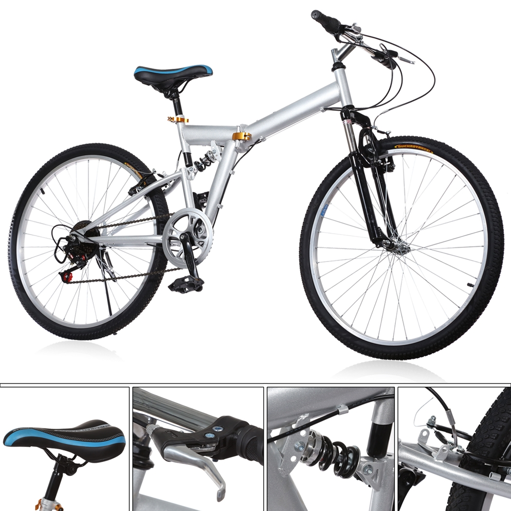 "Folding 6 Speed Mountain Bike 26""Sport Cycling Disc Brake..."